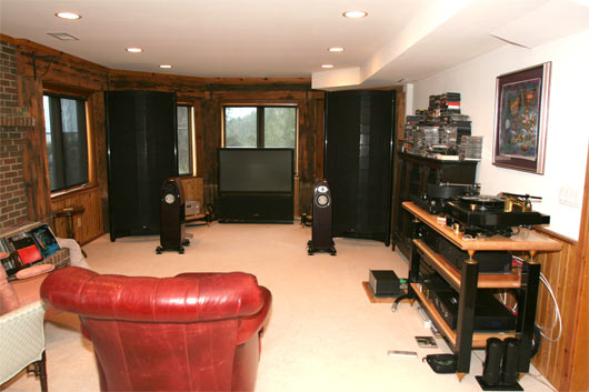 Wide angle view of Listening room #2 - Sound Lab U1 behind Kharma Mini Exquisite speakers