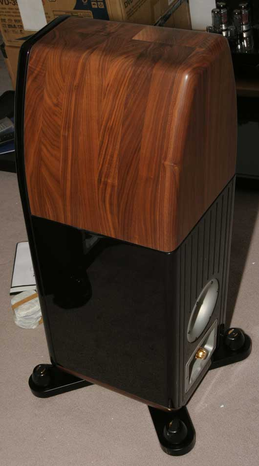 The unwrapped Kharma Mini Exquisites loudspeakers - rear view