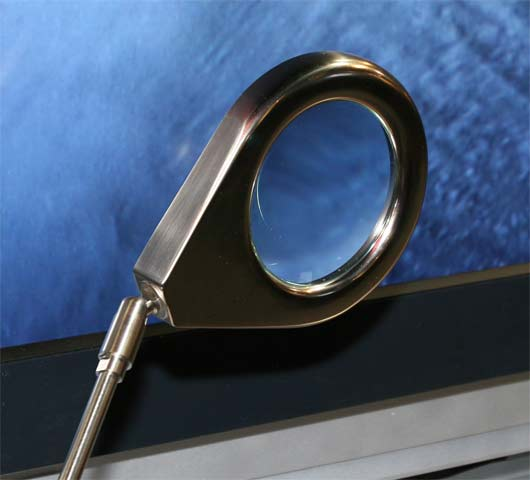 Magnifying glass setup in front of sony monitor (forget which one, sorry)