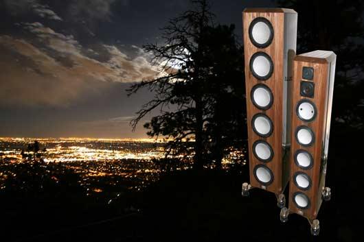 The Marten Design Coltrane Supreme loudspeaker with the Boulder/Denver city lights in the background